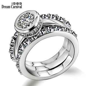 DreamCarnival 1989 Luxury Wedding Rings Set for Women 3 pieces Cubic Zircon Rhodium Gold Color Engagement Jewelry Anillos Mujer