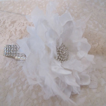 Wrist Corsage White Feathers and  Lace Rhinestone  Bracelet Bridesmaid Mother of the Bride Prom with Rhinestone Accent. Custom Made