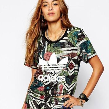 DCCKHV3 shosouvenir: adidas  Camouflage print women fashion tops sports shirt blouse