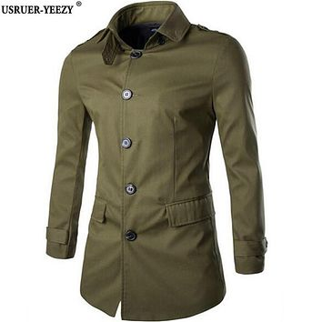USRUER-YEEZY 2017 Men Trench Coat Single-Breasted Fashion Long Cotton Overcoat Mens Windbreaker Clothing Abrigo Gabardina Hombre