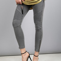 Grey Moto Zip Jegging