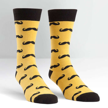 Sock It To Me Mens Yellow Mustache Crew Socks