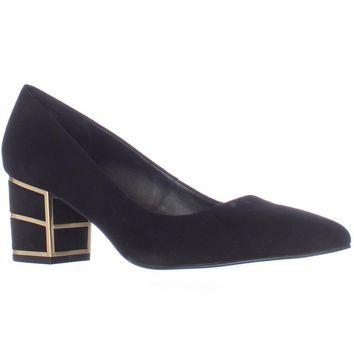 Steve Madden Buena Pointed Toe Block Heel Kitten Pumps, Black, 10 US