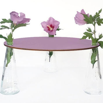 Laser cut wood table centerpiece,round coffee table,round side table,handpainted wooden table,flowers in vase,end table,modern side table