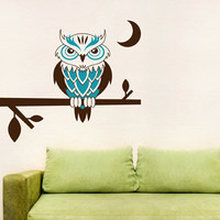 Night Owl Perched on a Branch Wall Art Decal by WallumsWallDecals