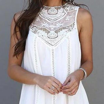 Cupshe Sweet Solid White Lace Mini Dress