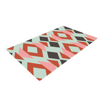"Pellerina Design ""Coral Mint Triangle Weave"" Orange Teal Woven Area Rug"