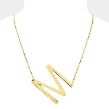 M- Large Sideways Initial Necklace
