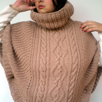 Natural Beige Cabled Poncho mixed Wool  Hand Knit WomanCape Sweater Fashion Winter Poncho  NEW