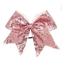 8'' Handmade Solid Sequin Cheer Bow For Girls Children Boutique Ribbon Bow With Elastic Band Kids Hair Accessory