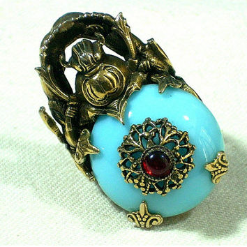 Egyptian Revival Scarab Beetle Ring Glass Cabochons Vintage Jewelry Ornate