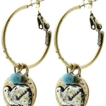 Turquoise Aged Finish Metal Dove Charm Earring