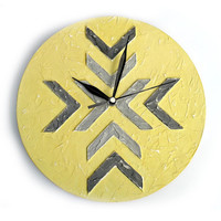 Yellow Wall CLOCK GEOMETRIC CHEVRON Unique  yellow pastel grey  wall clock