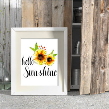 Hello Sunshine Sunflower Watercolor Print. Nursery Print. Girl Room Print. Bathroom Print. Watercolor Art. Rustic. Vintage. Shower Print.