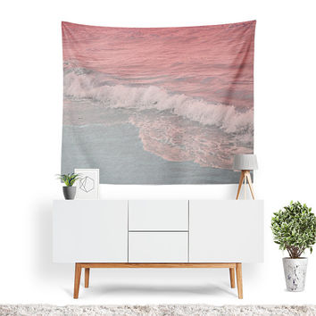 Sea Foam Tapestry | Beach Tapestry | Ocean Wall Decor | Ocean Waves | Nature Wall Art | Muted Pastel | Pink | Beachy Decor | Wave Tapestry