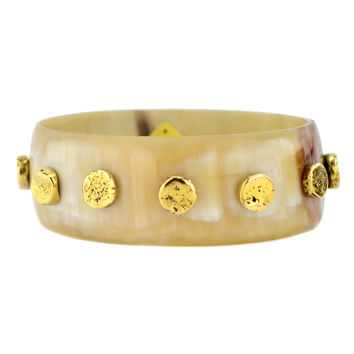 "Ashley Pittman ""Sumari"" Light Horn Skinny Bangle with Bronze"
