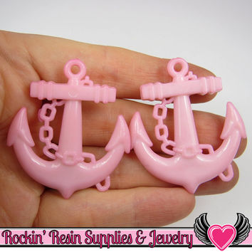 Pink Anchor Pendant Sailing Nautical Charm (8 pieces) 45 x 39 mm