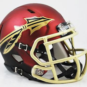 FSU SEMINOLES GARNET & BLACK SHELL GOLD MASK RIDDELL SPEED FOOTBALL MINI HELMET
