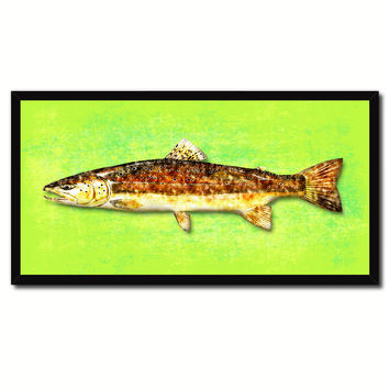 Brown Trout Fish Art Green Canvas Print Picture Frames Home Decor Nautical Fisherman Gifts