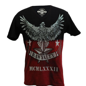Rawyalty Couture Men's Full Bling Eagle T-Shirt 2Tone Blk/Red