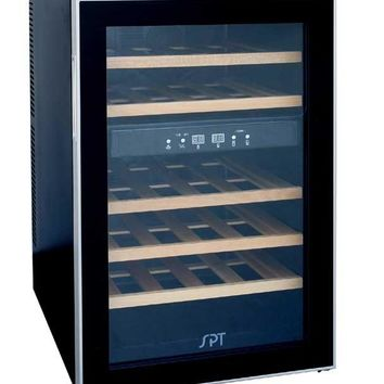 WC-2463W 24-bottle Dual-Zone Thermo-Electric Wine Cooler w/Wooden Shelves (Color: Black)