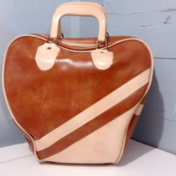 Sale, Bowling Bag, Large, Brown and Ivory, Vintage, Retro