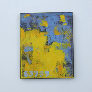 "Blue and Yellow Nautical Painting, Acrylic Abstract Art, Beach Cottage Decor, 8"" x 10"""