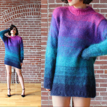 20% OFF vintage 90s Grunge Gradient Fade MOHAIR Tunic Sweater Fuzzy Fluffy Mini Dress S M