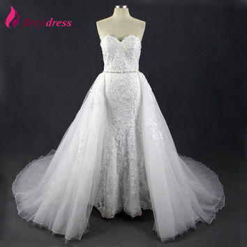 New Arrivals Illusion Handmade Real Wedding Dresses 2016 Lace Beaded Vestido De Noiva Applique Detachable Train Bridal Gowns