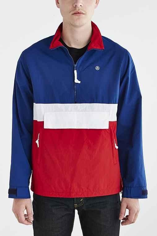 a48f076c656 Stussy Colorblocked Anorak Jacket- Blue from Urban Outfitters