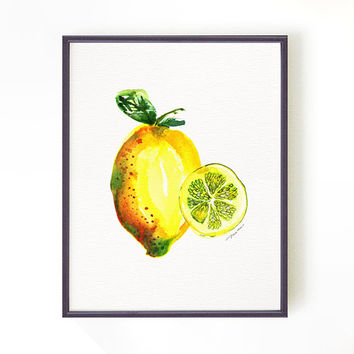 Lemon print watercolor print Kitchen art Lemon painting Fruit print Botanical print, Summer decor Wall hanging Yellow Buy 2 Get 1 Free