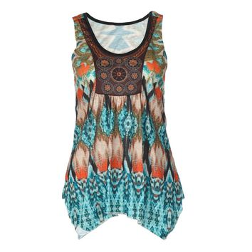 Vintage Boho Printing Shirts Women Fashion Floral Blouses Ladies Sexy Sleeveless Casual Loose Vest Shirt Summer Tops Girls #Ju