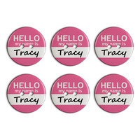Tracy Hello My Name Is Plastic Resin Button Set of 6
