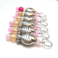 Stitchmarkers For Knitting Silver Fish Pink by SilverRiverStitches