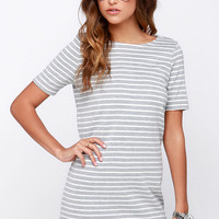 Law Bender Ivory and Grey Striped Dress