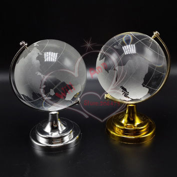50mm Glass World Map Ball Crystal Globe Sphere Graduation Kids Souvenirs Party Favors Gifts for Wedding