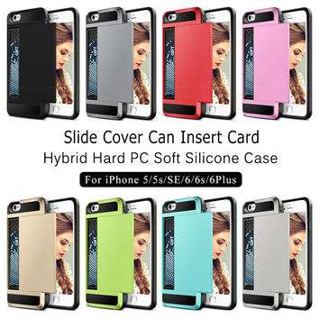 Slide credit card slot phone case for iPhone 5 5s SE 6 6s Plus armor hybrid hard PC soft silicone shell shockproof back cover