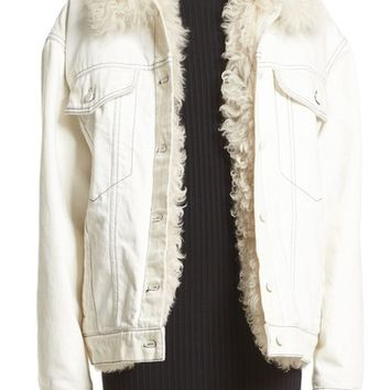 Alexander Wang Denim Boyfriend Jacket with Genuine Shearling Lining | Nordstrom