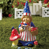 Patriotic Mrs Gnome Statue Figurine 4th of July Americana Home Yard Garden Decor