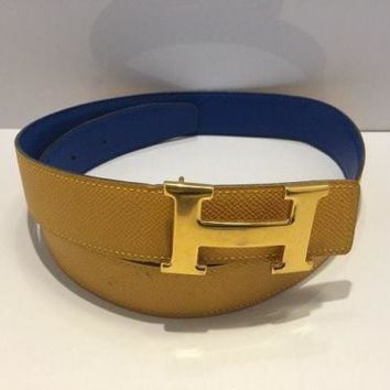 Auth HERMES H Belt Yellow Blue Gold Leather & Metallic Material Square A Belt