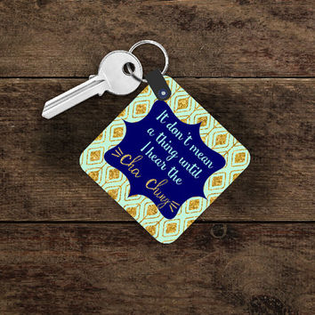 Custom Personalized Key Ring ~ Proud Etsian Key Chain ~ It Don't Mean a Thing Until I Hear The Cha Ching ~ Mint and Gold Key Fob ~ Design It