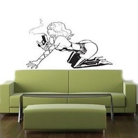 SEXY HOT SMOKIN GIRL WITH GUN WALL STICKER DECAL 07
