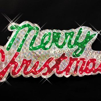 "46"" Sparkling Holographic ""Merry Christmas"" Yard Art Sign Decoration"