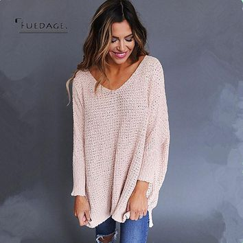 Fuedage Autumn Winter New Sweater Women 2017 Casual Fashion V Neck Pullover Knitted Solid Color Long Sleeve Jumper Pull Femme