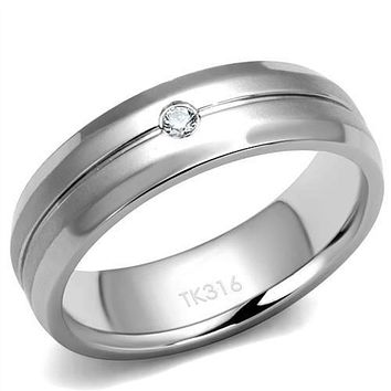 WildKlass Stainless Steel Ring High Polished (no Plating) Men AAA Grade CZ Clear