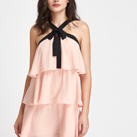 Contrast Bow Tie V Strap Front Layered Flounce Dress | MakeMeChic.COM