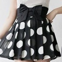 Pleated Polka Dot Skirt with High Waist Bow from Oh My! Fashion