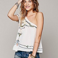 Free People Womens Embroidered Flutter One Shoulder - Galaxy Blue,