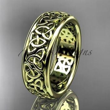 14kt yellow gold celtic trinity knot wedding band, engagement ring CT7163G