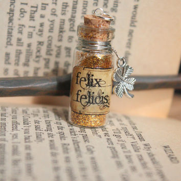 Glass Vial Potion Harry Potter Felix Felicis necklace